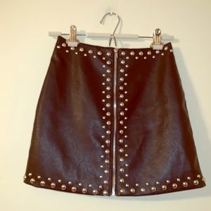 Black studded faux leather skirt small